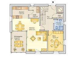Planungsbeispiel Einfamilienhaus Bogenhaus 159SB20 - Grundriss EG