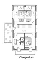 Das Massivhaus im Bauhausstil bietet zwei Vollgeschosse, dank des Flachdachs gibt es hier keine Dachschrägen.