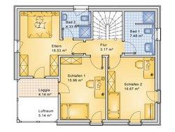 Planungsbeispiel Einfamilienhaus 139H20 - Grundriss OG