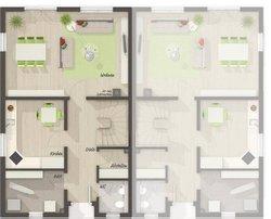 Grundriss Erdgeschoss Doppelhaus Duett 115