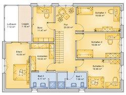 Planungsbeispiel Einfamilienhaus 252H20 - Grundriss OG