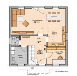 Grundriss Kern-Haus Familienhaus Luna Erdgeschoss