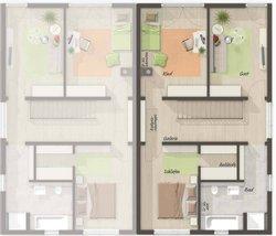 Grundriss Obergeschoss Doppelhaus Aura 136