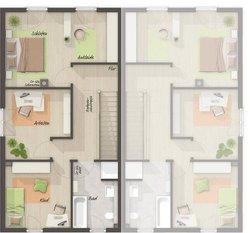 Grundriss Obergeschoss Doppelhaus Aura 125