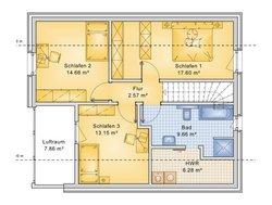 Planungsbeispiel Einfamilienhaus 125H15 - Grundriss Dachgeschoss