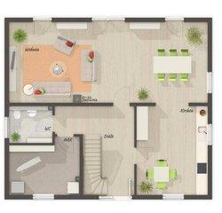 Grundriss Erdgeschoss Mitwachshaus Flair 148 - Standard