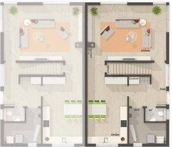 Grundriss Erdgeschoss Doppelhaus Aura 136