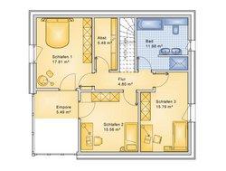 Planungsbeispiel Einfamilienhaus Bogenhaus 159SB20 - Grundriss OG