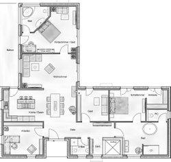 Bei der Planung seines persönliches Traumhauses hat der Bauherr einen separaten Bereich für Gäste bzw. zuküftiges Pflegepersonal berücksichtigt.