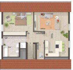 """Grundriss Dachgeschoss Mitwachshaus Flair 148 - Variante """"Einliegerwohnung"""""""