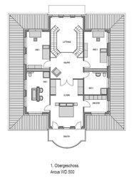Im 120 m² großen Obergeschoss der Villa hat jeder sein eigenes Reich: Kinder wie Eltern verfügen über eigene Zimmer und Badezimmer. Die Räume sind allesamt großzügig bemessen.