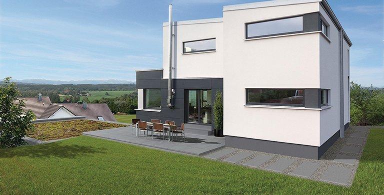 Die Terrasse erweiter den Wohnraum im Sommer ins Freie Copyright: Wolf-Haus