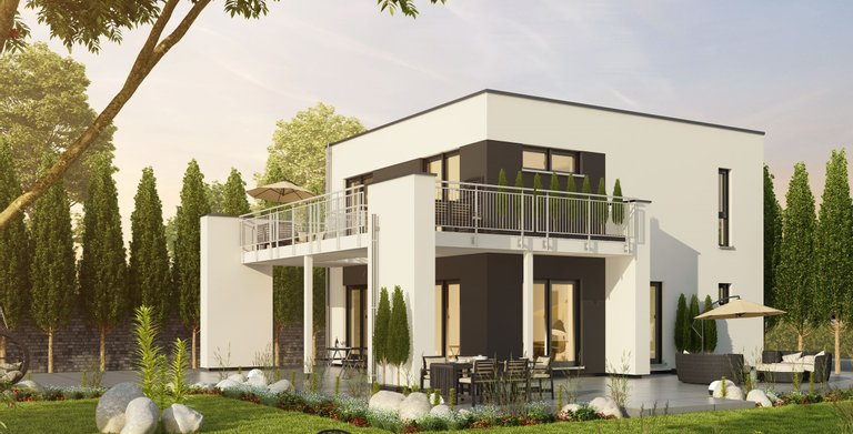 Einfamilienhaus mit Flachdach und Eckbalkon von OKAL Haus GmbH