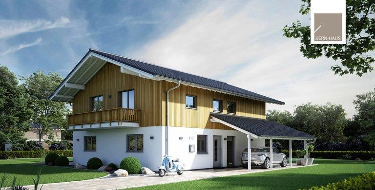Neben dem Wintergarten überzeugt das Architektenhaus mit zwei Balkonen. Copyright: