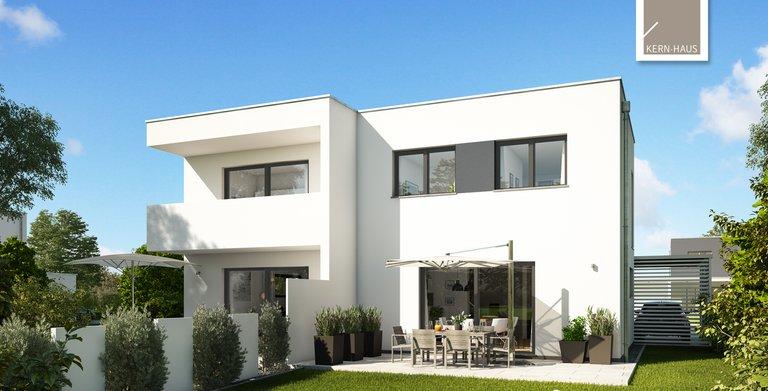 Kern-Haus Doppelhaus Linum Gartenseite Copyright: