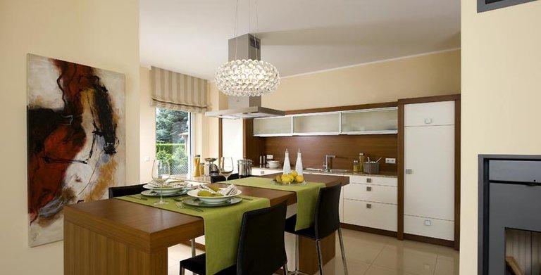 Essplatz und Küche sind harmonisch über Eck angeordnet.  Copyright: Heinz von Heiden GmbH Massivhäuser