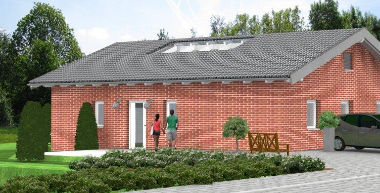 Bungalow Planungsbeispiel 160H10 - Ansicht Nordseite Copyright: Bio-Solar-Haus