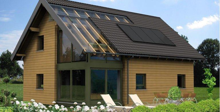 Planungsbeispiel Einfamilienhaus 139H15 - Ansicht Südseite Copyright: Bio-Solar-Haus
