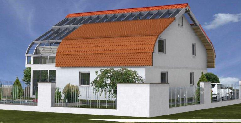Planungsbeispiel Einfamilienhaus Bogenhaus 159SB20 - Nordansicht Copyright: Bio-Solar-Haus