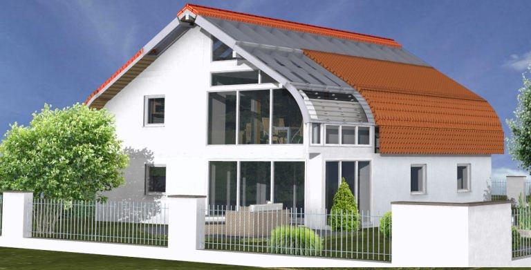 Planungsbeispiel Einfamilienhaus Bogenhaus 159SB20 - Südansicht Copyright: Bio-Solar-Haus