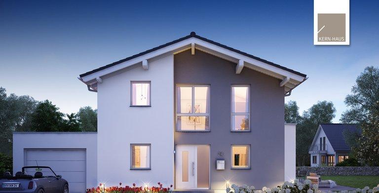 Kern-Haus Architektenhaus Vero Eingangsseite Nacht Copyright:
