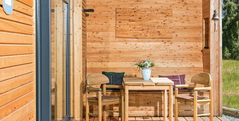 Naturholzhaus Martha überdachter Freisitz Copyright: