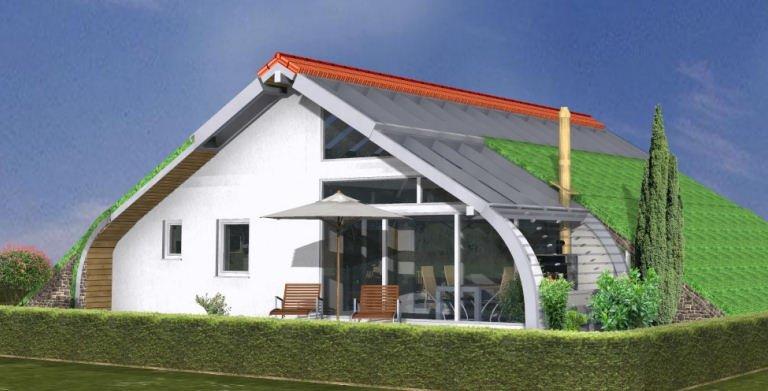 Planungsbeispiel Bungalow Bogenhaus 108SB10 - Südansicht