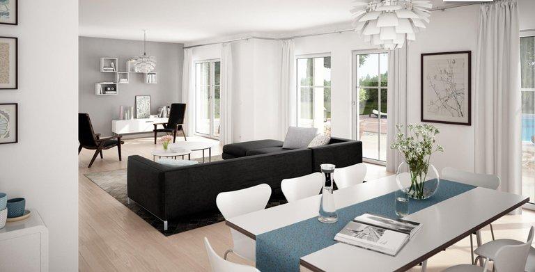 Viel Platz auf über 60 Quadratmetern im offenen Wohn- und Essbereich. Copyright: