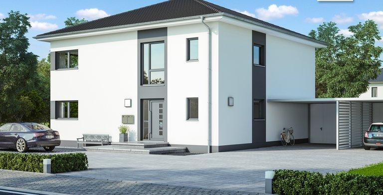 Kern-Haus Zweifamilienhaus Duplea Eingangsseite Copyright:
