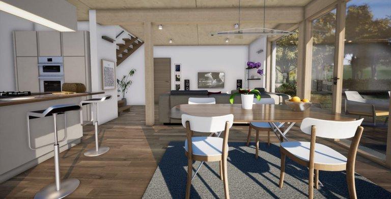 Küche offen mit Essbereich