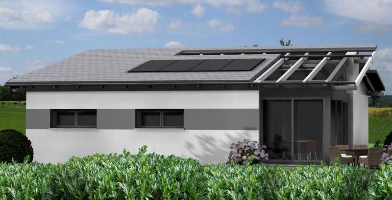 Bungalow Planungsbeispiel 95H10 - Ansicht Westseite Copyright: Bio-Solar-Haus