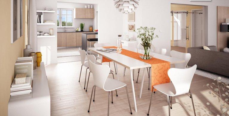 Der Wohn- und Essbereich in der Stadtvilla Aurelio umfasst über 60 Quadratmeter. Copyright:
