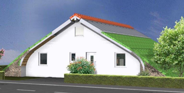 Planungsbeispiel Bungalow Bogenhaus 108SB10 - Nordansicht Copyright: Bio-Solar-Haus