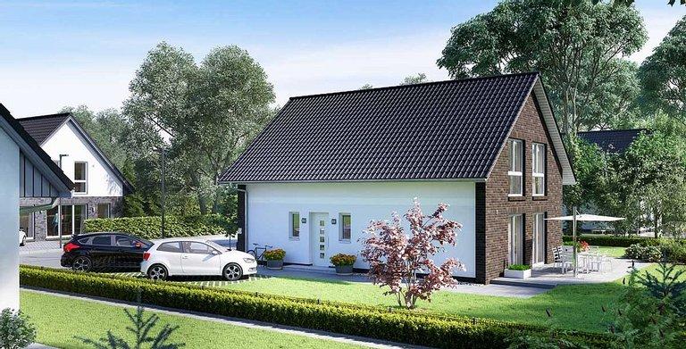 Das Verblendermauerwerk und die weiße Putzfassade machen aus dem V1 ein modernes Haus, das optisch an seinen Vorgänger aus den 1960er-Jahren anknüpft. Copyright: