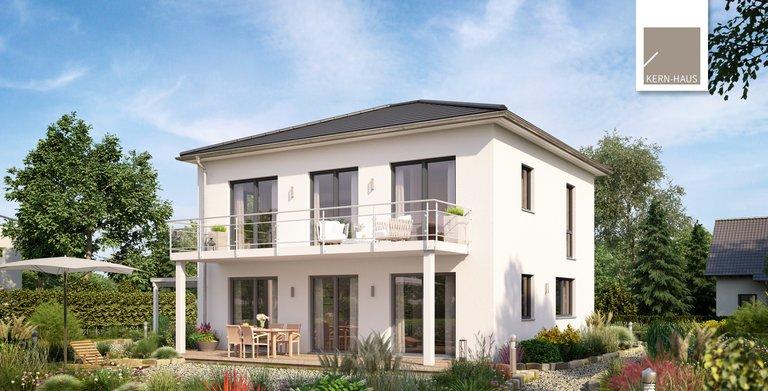 Die Stadtvilla Signus gibt es auch als Panoramavariante mit Wohn- und Esszimmer im Obergeschoss. Copyright: