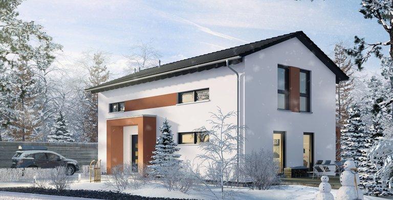 Einfamilienhaus mit überdachtem Eingang von OKAL Haus GmbH