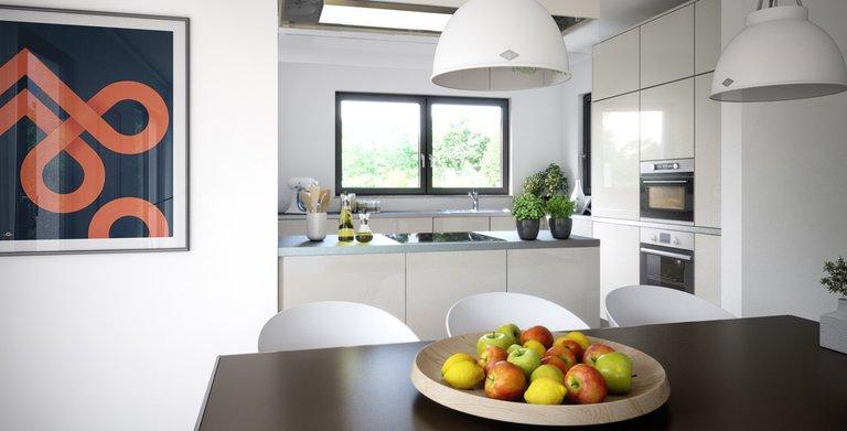 Die Küche ist zum Wohn- und Essbereich offen gehalten und hat eine angrenzende Speisekammer.  Copyright:
