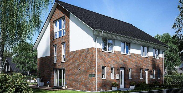 Basishaus Zweigeschossiger Baustil mit Satteldach und 35° Dachneigung  Copyright: