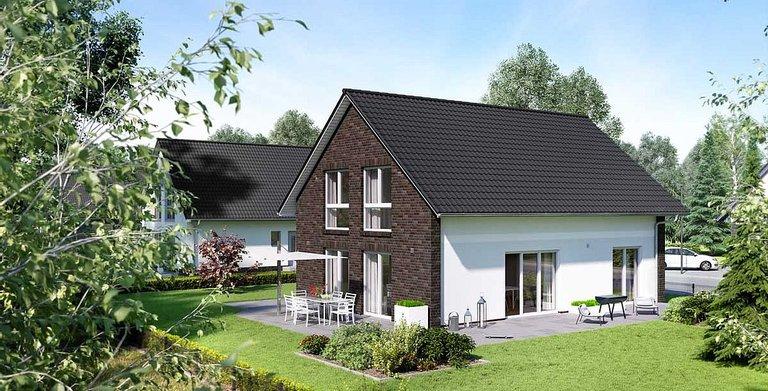 Das V1 ist ein klassisches Haus in zeitgemäßer Optik- entweder mit schlichter Putz oder schöner Verblendfassade. Copyright: