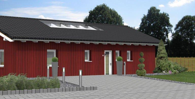 Bungalow Planungsbeispiel 114H10 - Ansicht Nordseite Copyright: Bio-Solar-Haus