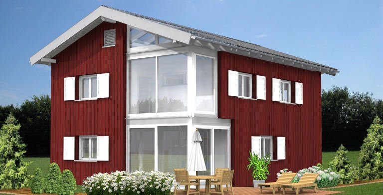 Planungsbeispiel Einfamilienhaus 152H20 - Ansicht Südseite Copyright: Bio-Solar-Haus