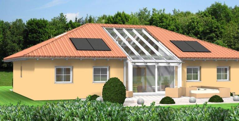 Bungalow Planungsbeispiel 160H10 - Ansicht Südseite Copyright: Bio-Solar-Haus