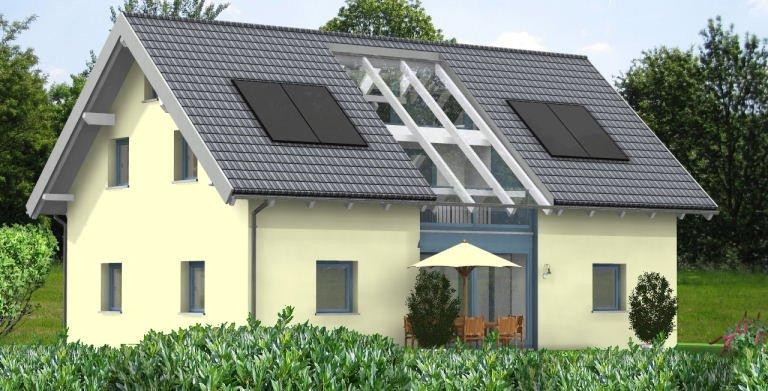 Planungsbeispiel Einfamilienhaus 158H15 - Ansicht Südseite Copyright: Bio-Solar-Haus